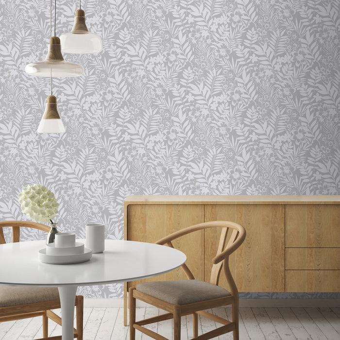 Leaf and Flower Floral Trail | Metallic Silver & Matte White Wallpaper