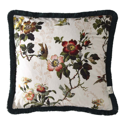 Oasis Designer 'Leighton' Cushion with Fringe Trim | Ivory, Deep Red, Pink & Green - Your 4 Walls