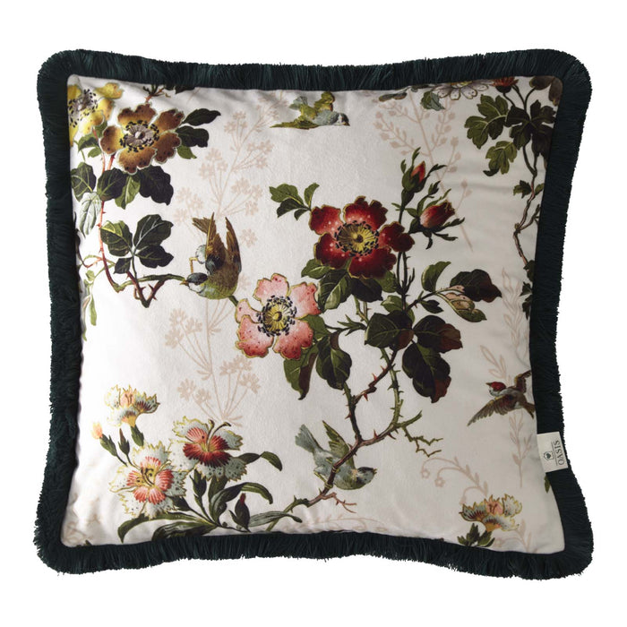 Oasis Designer 'Leighton' Cushion with Fringe Trim | Ivory, Deep Red, Pink & Green