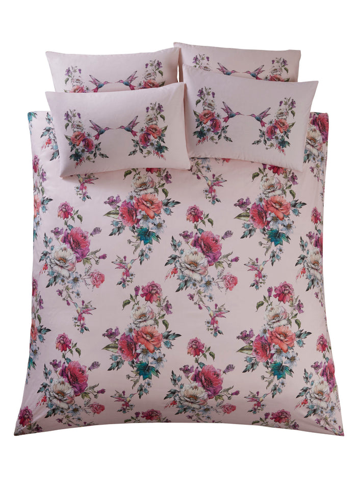 Oasis 'Leena' Designer Floral & Bird Bedding Duvet Set | Blush Pink, Violet, Red & Green