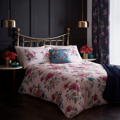 Oasis 'Leena' Designer Floral & Bird Bedding Duvet Set | Blush Pink, Violet, Red & Green - Your 4 Walls