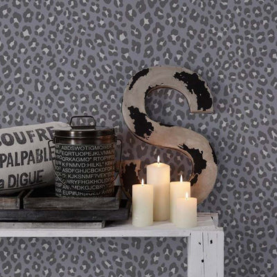 Leopard Animal Skin Effect Wallpaper | Grey, Black/Brown & Shimmering Grey White - Your 4 Walls
