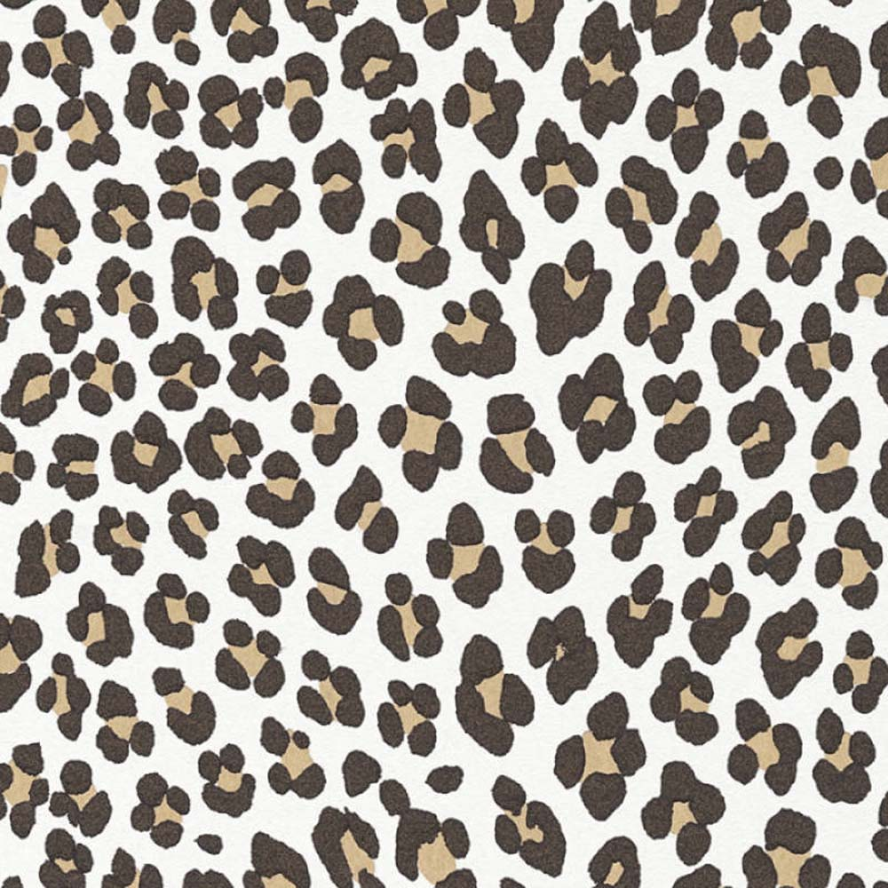 Leopard Animal Skin Effect Wallpaper | Off White, Black/Brown & Shimmering Orange