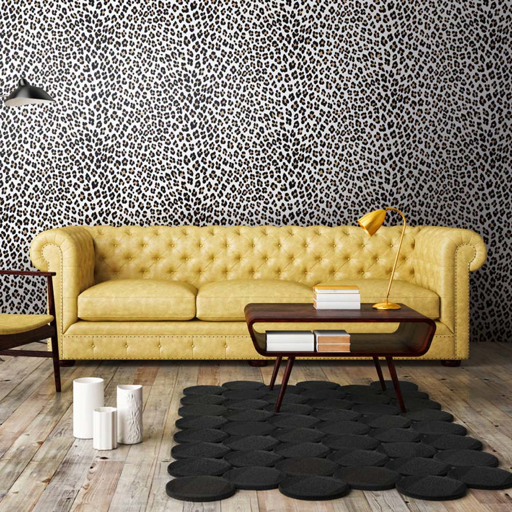 Leopard Animal Skin Effect Wallpaper | Off White, Black/Brown & Shimmering Orange - Your 4 Walls