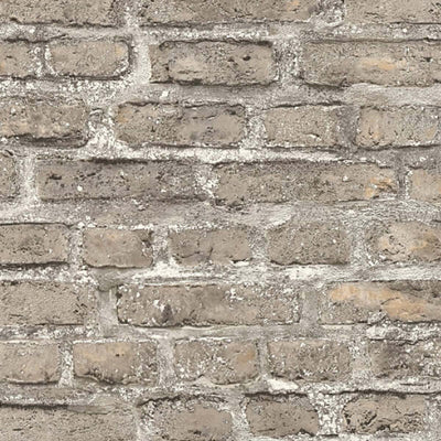 London Brick Effect Wallpaper in Grey, Brown & Beige - Your 4 Walls