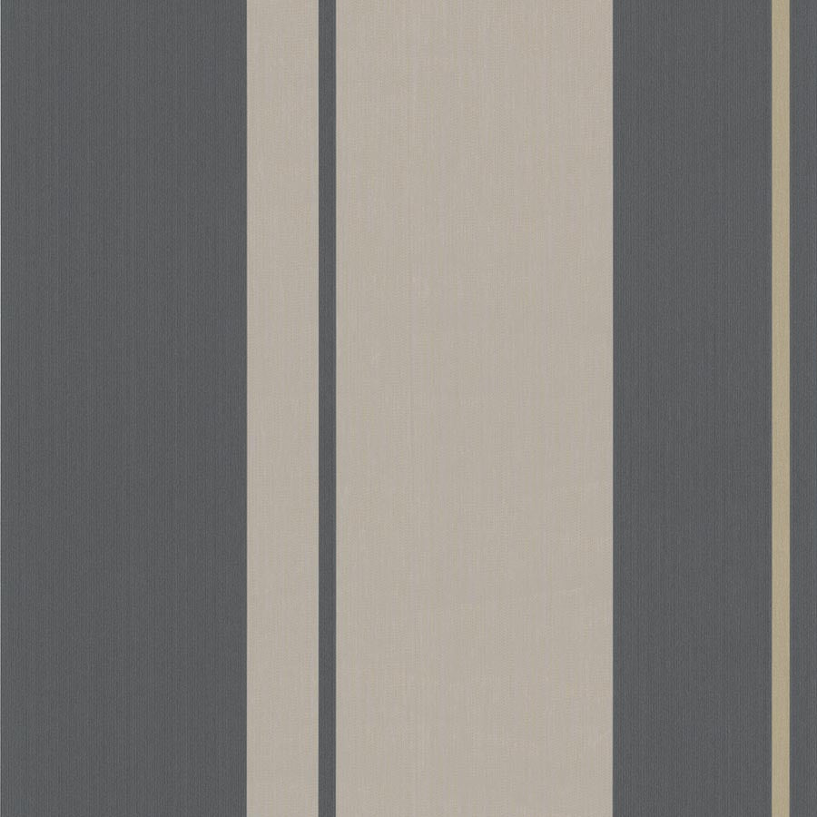 LAST ROLL Mai Stripe Wallpaper in Charcoal and Gold Taupe - Your 4 Walls