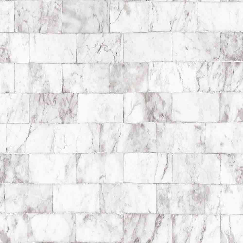 Marble Brick Tile Effect Wallpaper | White & Grey - Your 4 Walls