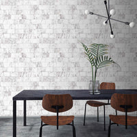 Marble Brick Tile Effect Wallpaper | White & Grey