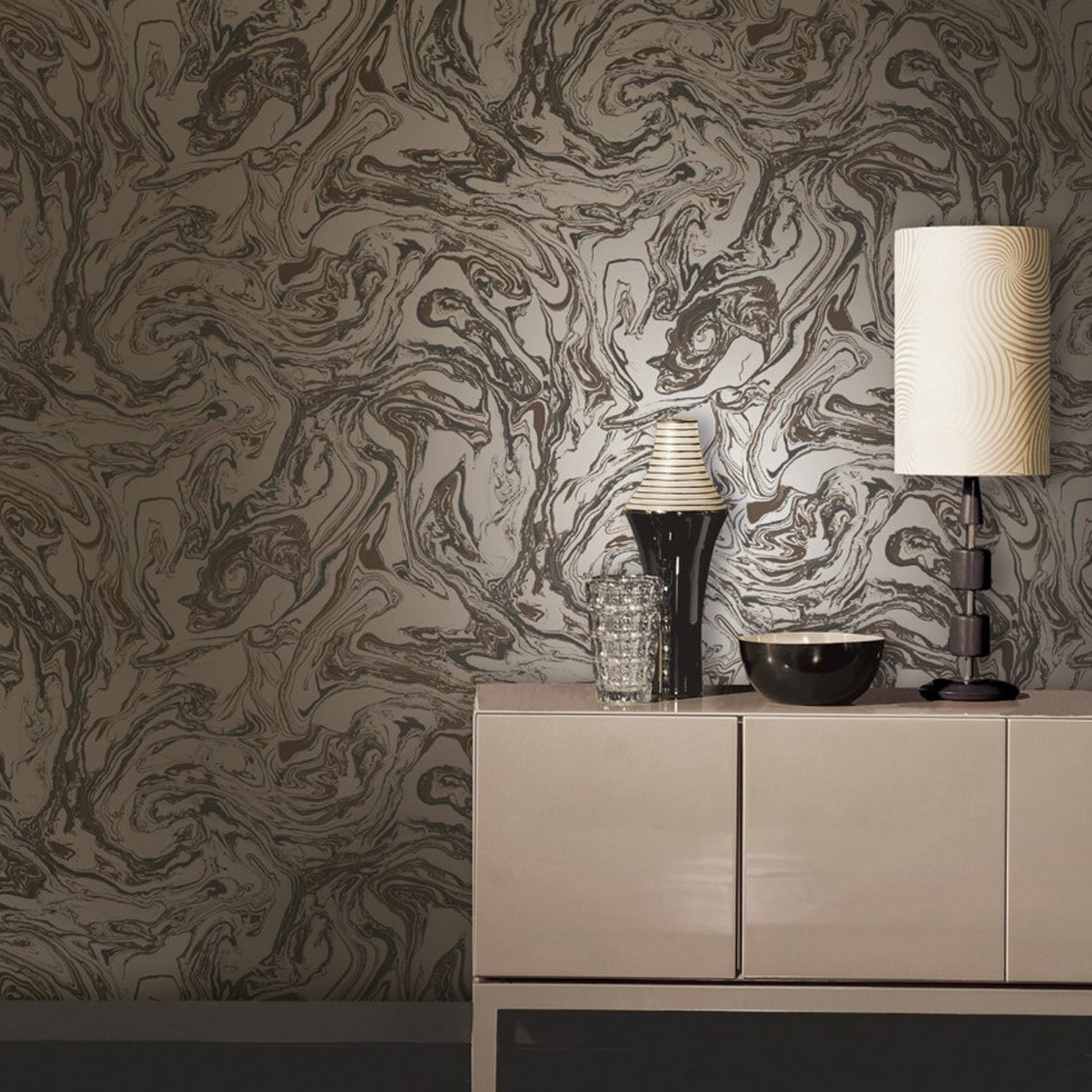Metallic Marble Effect Wallpaper | Brown & Bronze