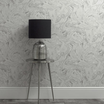 Metallic Marble Effect Wallpaper | Grey & Light Grey - Your 4 Walls