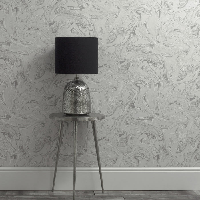 Metallic Marble Effect Wallpaper | Grey & Light Grey