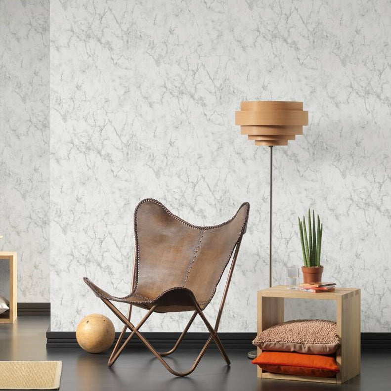 Textured Marble Effect Wallpaper | Light Grey & White - Your 4 Walls