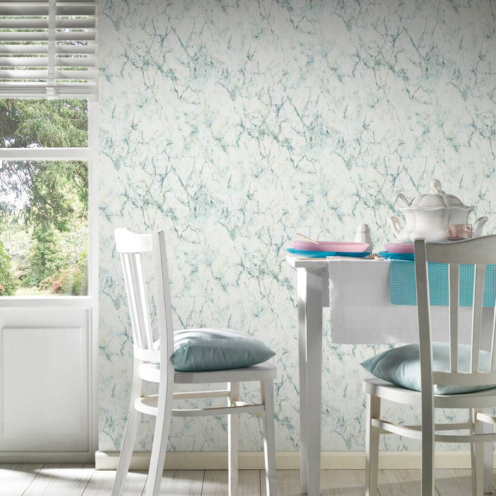 Textured Marble Effect Wallpaper | Green & White