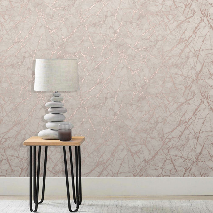 Marble Metallic Effect Wallpaper | Rose Gold & Cream