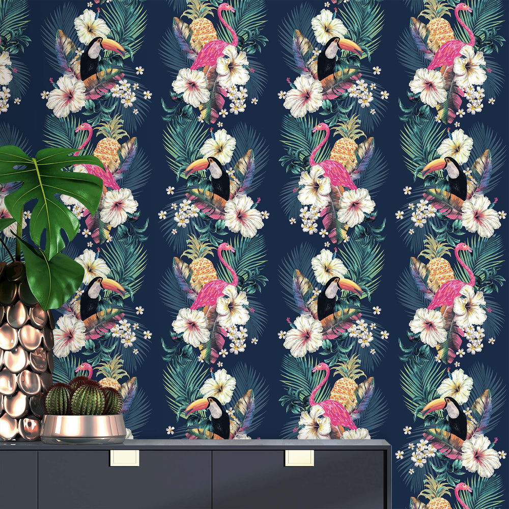 Maui Flamingo Bird Accessorize Wallpaper | Blue, Purple & Orange - Your 4 Walls
