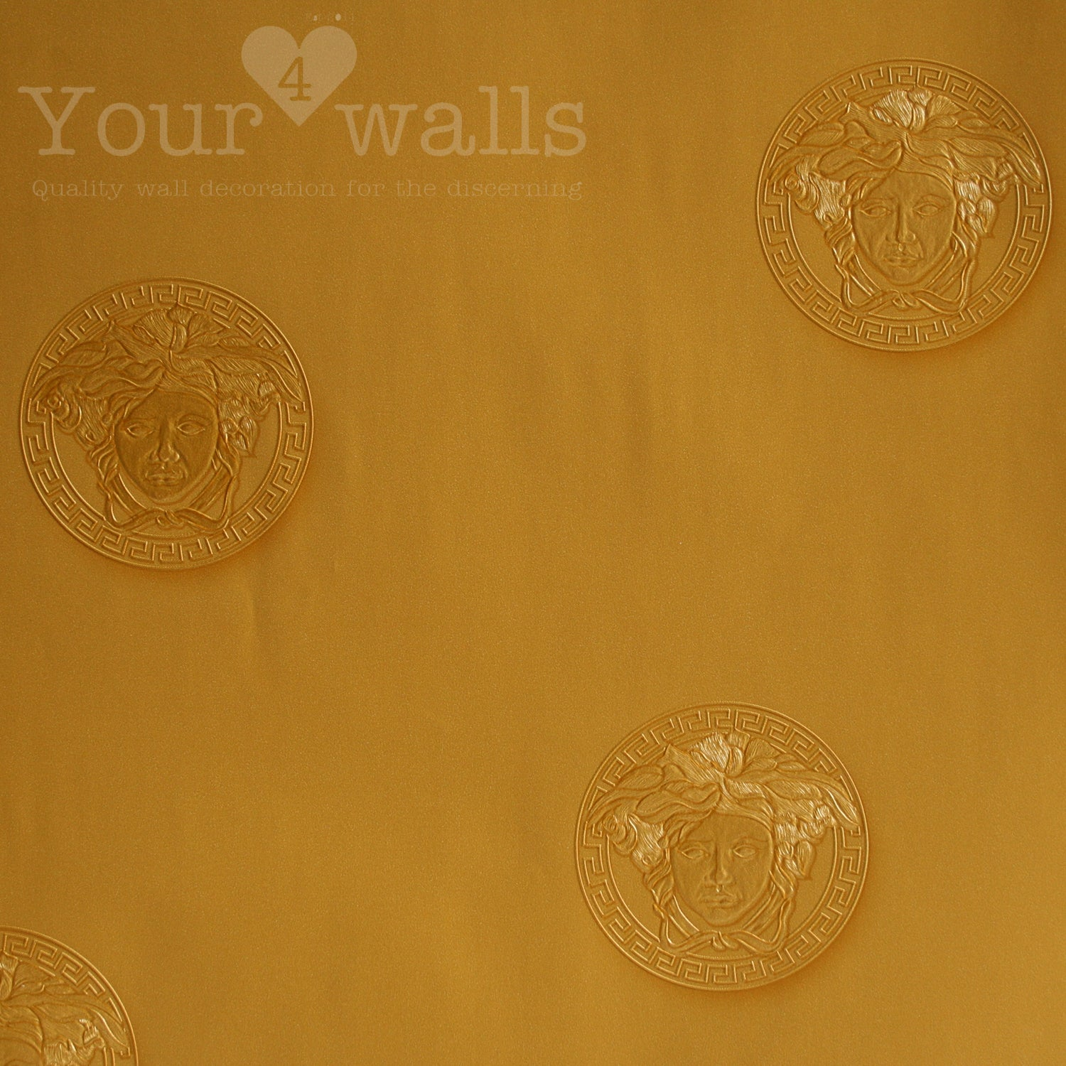 Versace Medusa | Designer Motif Effect Wallpaper in Gold