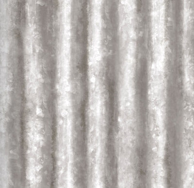 Corrugated Metal Panel Effect Wallpaper in Silver Grey - Your 4 Walls