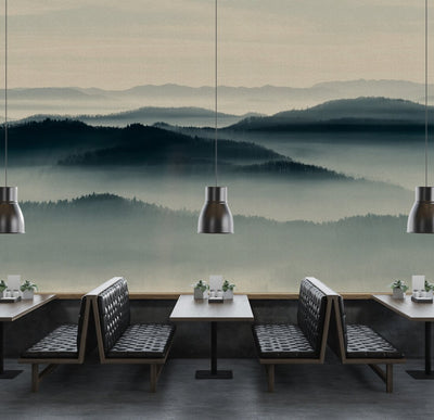 Misty Landscape Wallpaper Mural in Blue Tones - Your 4 Walls