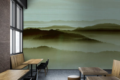 Misty Landscape Wallpaper Mural in Green Tones - Your 4 Walls