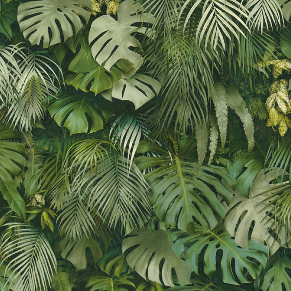 Mixed Monstera and Palm Leaf Effect Wallpaper | Green - Your 4 Walls