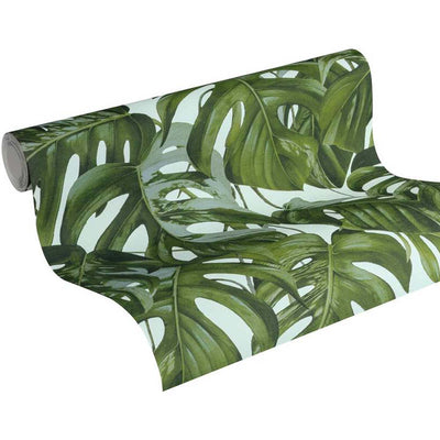 Monstera Leaf Design Wallpaper in Green & Green - Your 4 Walls