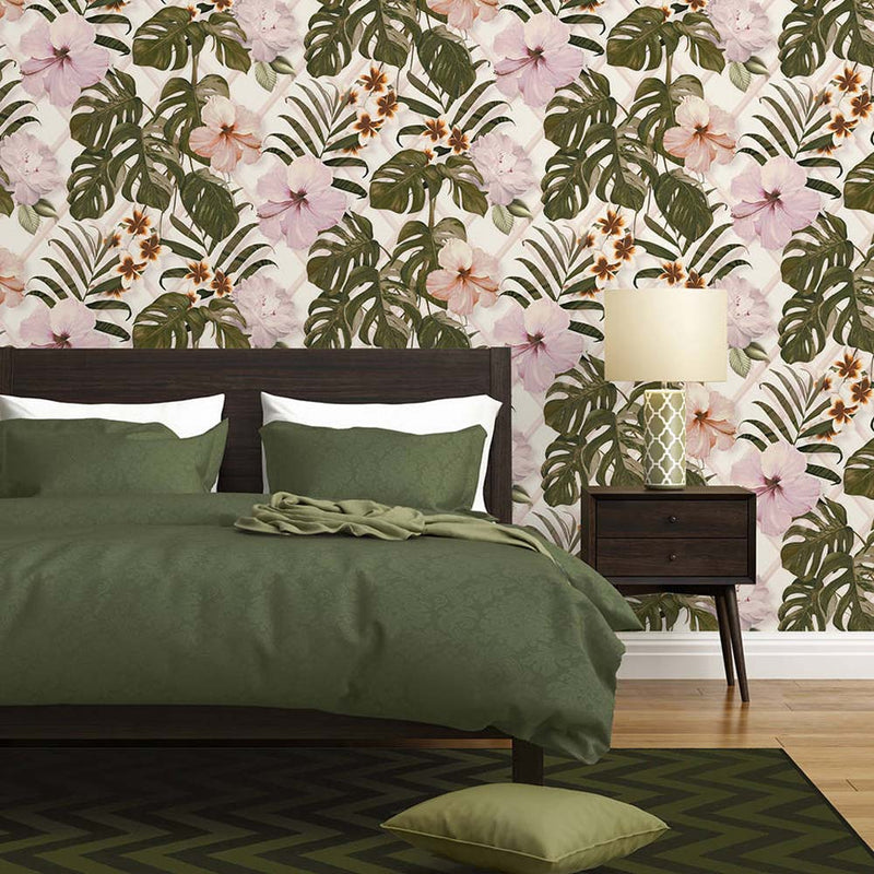 Monstera Deliciosa Floral & Leaf Design Wallpaper | Green, Purple & Pink - Your 4 Walls