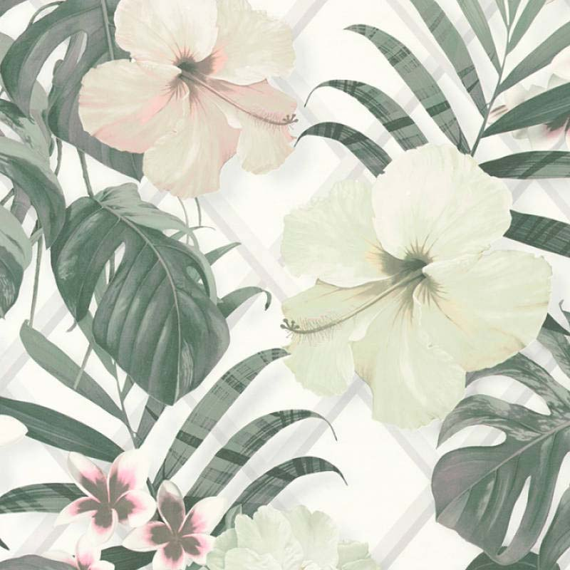Monstera Deliciosa Floral & Leaf Design Wallpaper | Green, Yellow, Pink and White