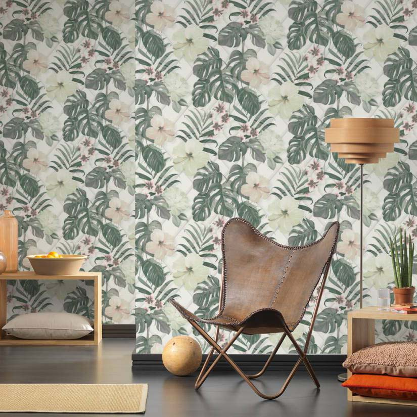 Monstera Deliciosa Floral & Leaf Design Wallpaper | Green, Yellow, Pink and White - Your 4 Walls