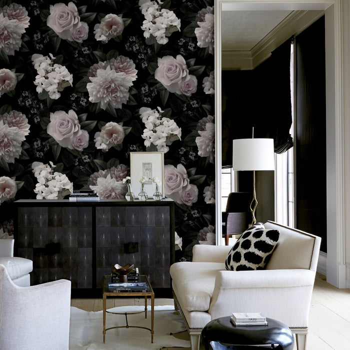 Floral Pink & White Wallpaper Mural on Black & Charcoal
