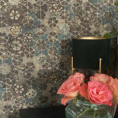 Authentic Moroccan Geometric Tile Plaster & Paint Effect Wallpaper in Teal, Mustard, Brown & Gold