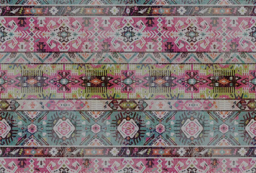 Urban Moroccan Rug Wallpaper Mural in Pink, Green, Turquoise & Black
