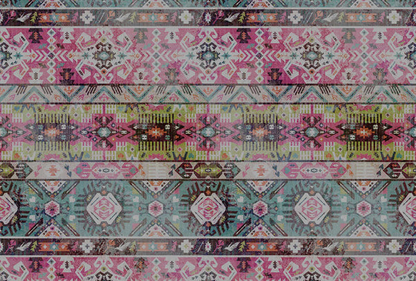 Urban Moroccan Rug Wallpaper Mural In Pink Green