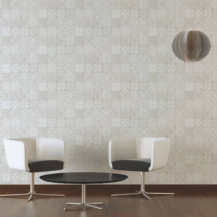 Moroccan/Croatian Style Tile  Effect Wallpaper | Grey, Beige, Cream & White