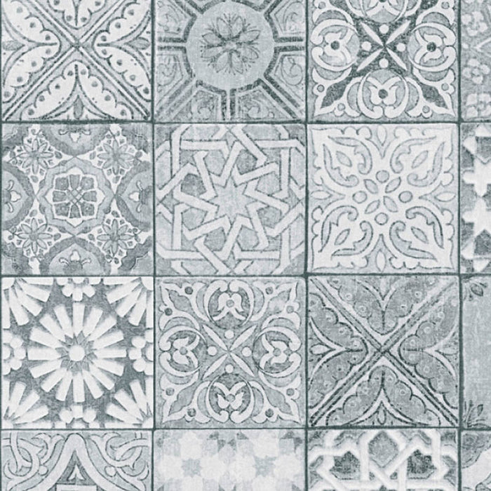 Moroccan/Croatian Style Tile  Effect Wallpaper | Grey & White