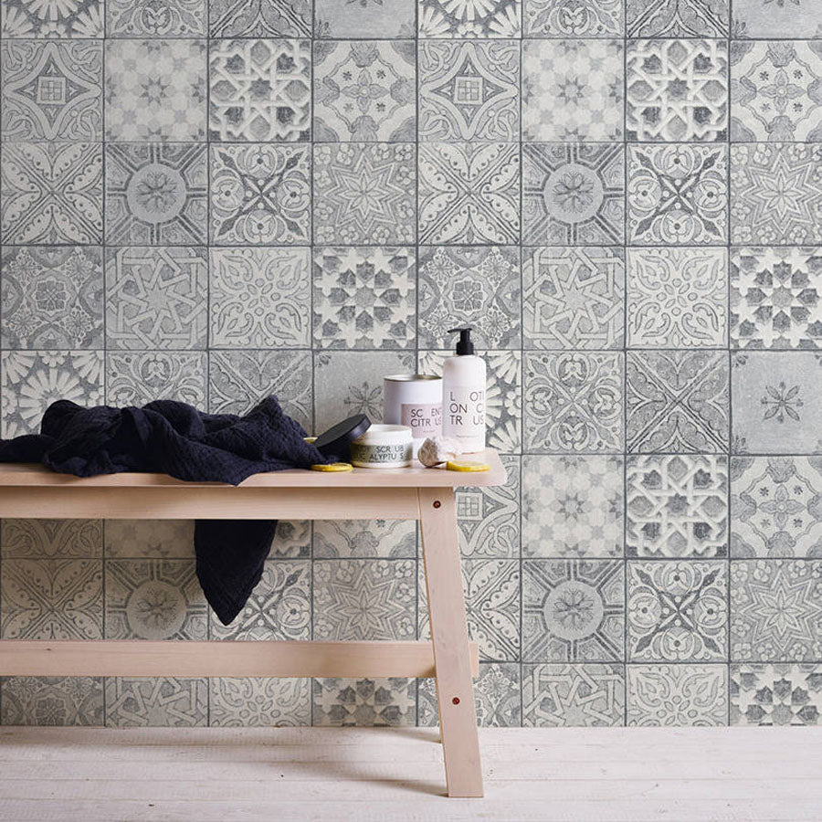Moroccan croatian style tile effect wallpaper grey white your 4 walls - American tin tiles wallpaper ...