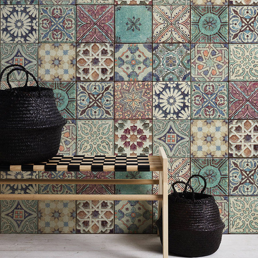 Moroccan/Croatian Style Tile  Effect Wallpaper | Multicoloured - Your 4 Walls