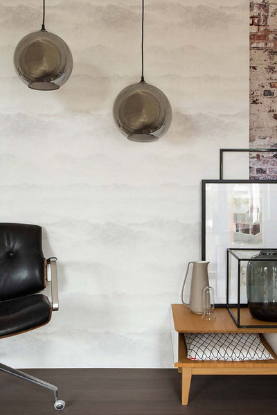 Mountain Range Canvas Effect Wallpaper | White & Grey - Your 4 Walls