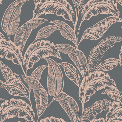 Mozambique Accessorize Leaf Design Wallpaper | Grey Brown & Rose Gold - Your 4 Walls
