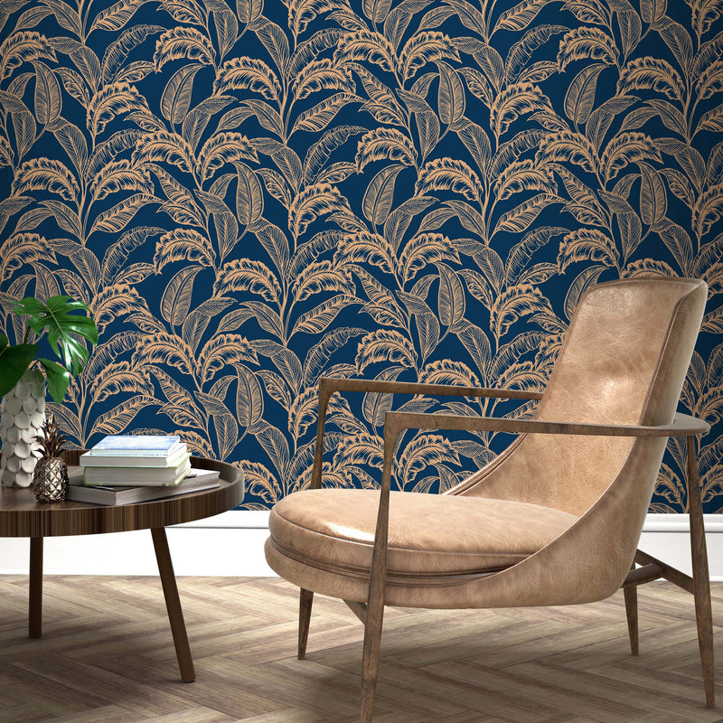 Mozambique Accessorize Leaf Design Wallpaper | Blue & Gold - Your 4 Walls