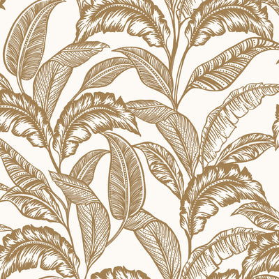 Mozambique Accessorize Leaf Design Wallpaper | Off White & Gold - Your 4 Walls