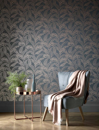 Mozambique Accessorize Leaf Design Wallpaper | Grey Brown & Rose Gold