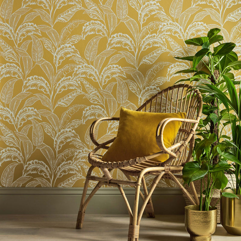 Mozambique Accessorize Leaf Design Wallpaper | Ochre Yellow & Pearlescent Silver - Your 4 Walls