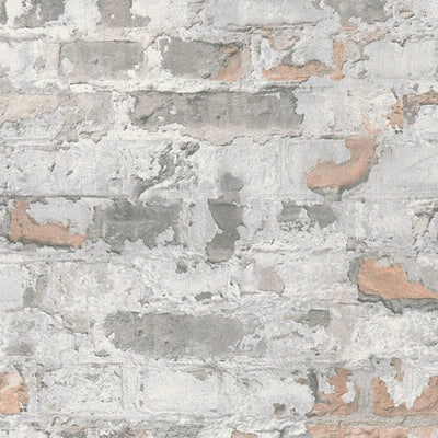 Stucco Brick & Plaster Effect Wallpaper in White, Grey & Stone/Beige - Your 4 Walls