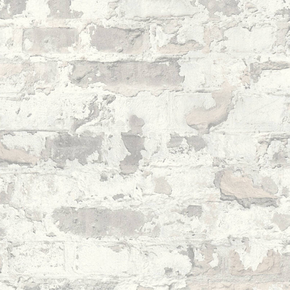 Stucco Brick & Plaster Effect Wallpaper in White & Grey - Your 4 Walls