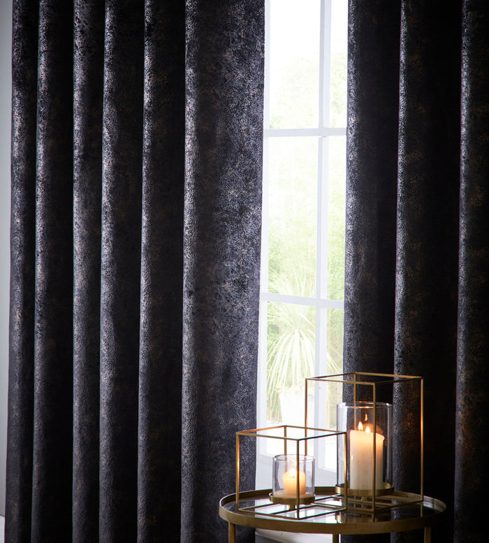 Clarke & Clarke 'Navara' Designer Curtains | Ebony Black & Muted Gold Textured Velvet