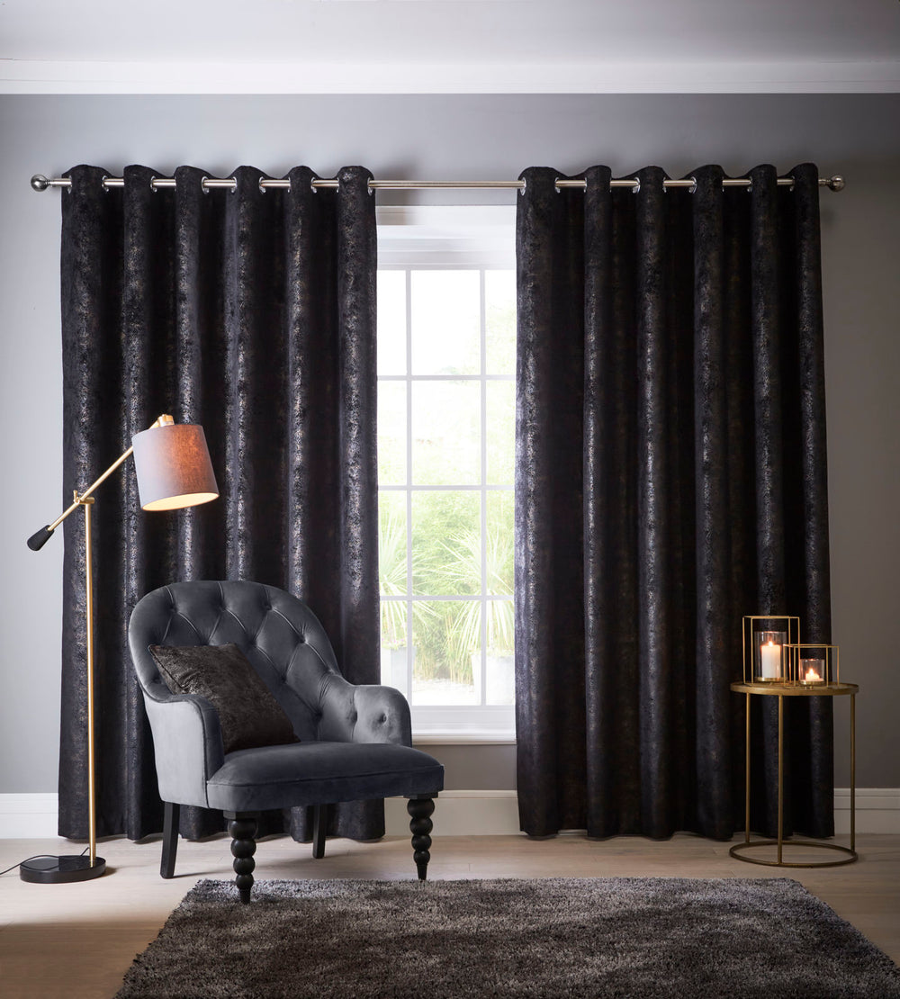 Clarke & Clarke 'Navara' Designer Curtains | Ebony Black & Muted Gold Textured Velvet - Your 4 Walls