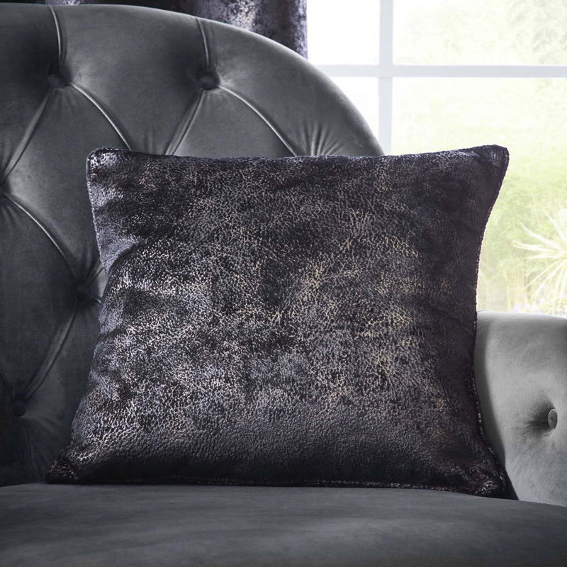 Clarke & Clarke Designer 'Navara' Cushion | Ebony Black & Muted Gold Textured Velvet - Your 4 Walls