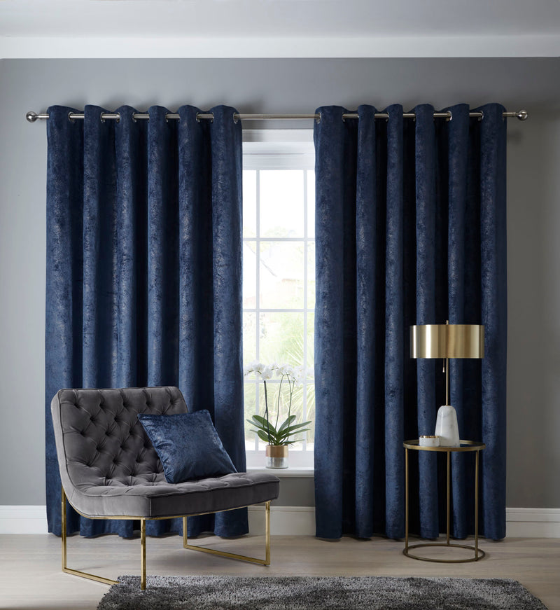 Clarke & Clarke velvet 'Navara' Designer ready made Curtains in Indigo Blue & Muted Gold - Your 4 Walls
