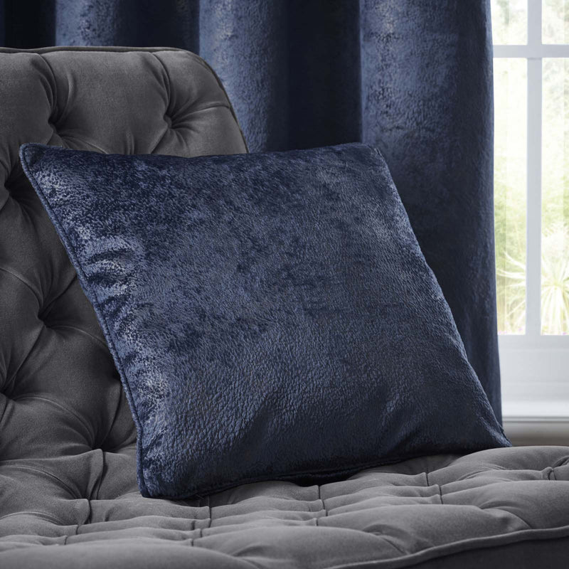 Clarke & Clarke Designer 'Navara' Cushion | Indigo Blue & Muted Gold Textured Velvet - Your 4 Walls