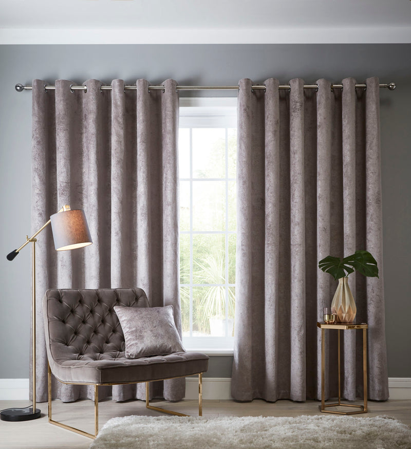 Clarke & Clarke velvet 'Navara' Designer ready made Curtains in Mink & Metallic - Your 4 Walls